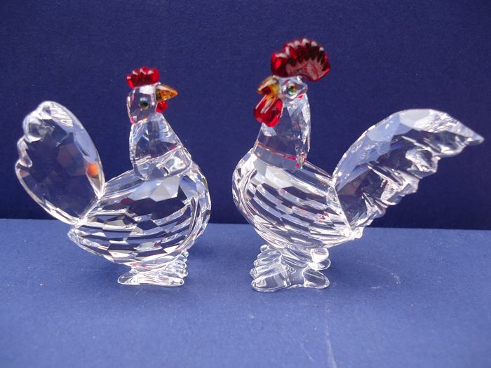 a06e86268f9b1 Swarovski - Rooster and Hen with red crests. - Catawiki