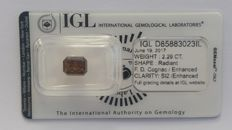 2.29ct RADIANT cut diamond Fancy Deep Cognac  SI2  IGL -No Reserve