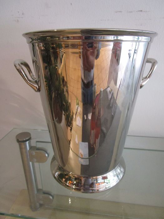Fine Champagne or Wine Cooler with two handles,  silver plated