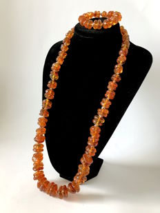 Natural Baltic Amber old necklace & bracelet with original box - not pressed, 222.7 grams - Lithuania