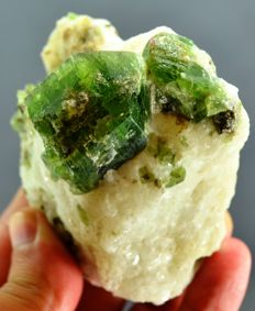 Perfect Green Diopside crystals on calcite - 88 x 66 x 50 mm - 314gm