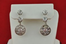 "Antique Circa 1900's ""Dormeuses"" Earrings with Diamonds (tot. +/- 3.20ct HI/SI-I) set on 18k White Gold - Size 25mm x 10mm x 14mm"
