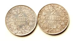 Papal States – 2 Lire 1866 und 2 Lire 1867 pope Pius IX (2 coins) – silver