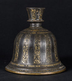 Biddri Huqqua base embelished with gold and silver - Southern India - 19th century