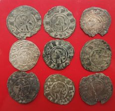 Spain - Lot of 9 Dineros in Fleece, Alfonso I of Aragon.