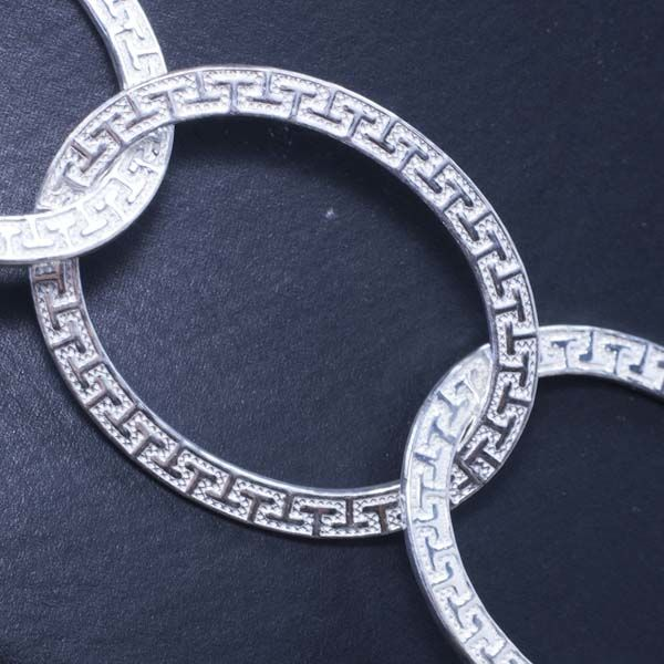 Necklace in 925/1000 silver with Italian grecca design - Length: 62 cm