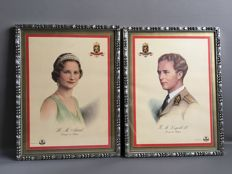 Official portraits of King Leopold III and Queen Astrid - 1st half 20th century