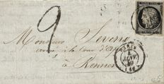 France  1849 - Rare Cérès 20 cents black on yellow, dated seal type 15 from 4 January 1849 on taxed letter signed Calves and Roumet - Yvert no. 3