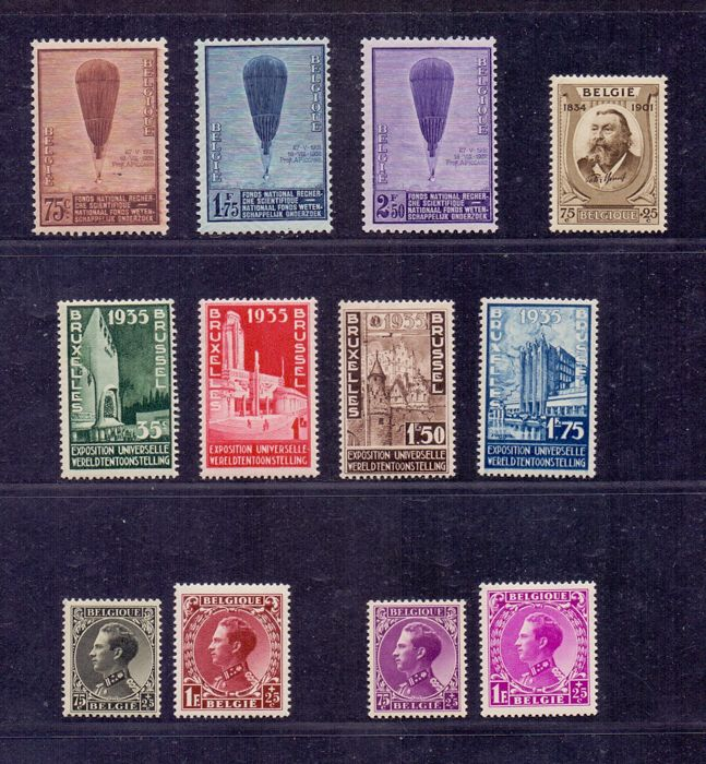 Belgium, 1932-1934, Piccard, three sets, Leopold III and Expo 1935