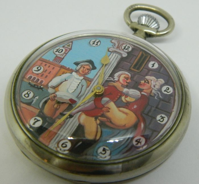 Doxa Swiss made erotic automaton pocket watch - sex in Venice - circa 1915