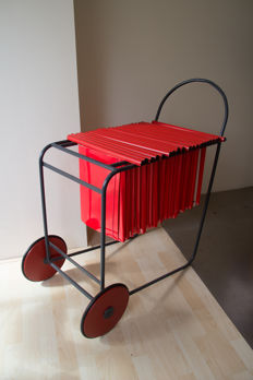Filing cart, prototype design by metal company Vlissingen - ca 1995 black lacquered metal tubes, red wooden wheels - The Netherlands - circa 1995
