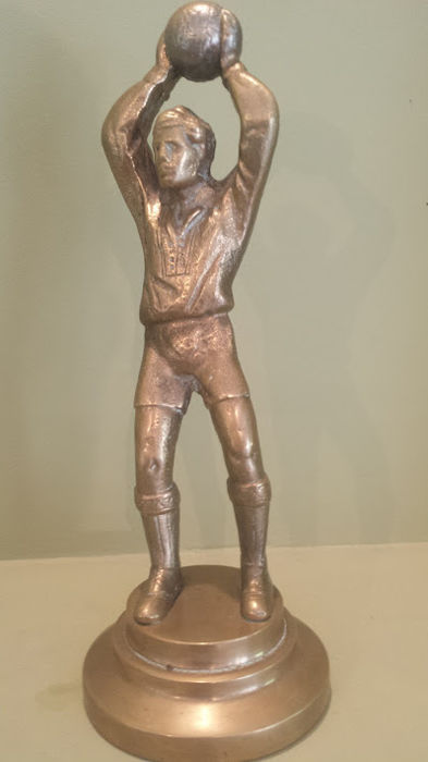 Bronze figurine 30 cm athlete with ball 50's