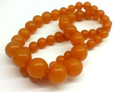 Butterscotch orange colour beaded necklace of Baltic Amber, 77.5 g