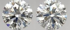 Pair of  Round Brilliant Diamonds 1.11ct total  G IF  GIA Original image 10EX - Serial# WD2160-WD2159