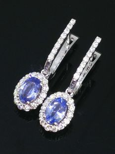Earrings with 2 blue sapphires, 1.10 ct in total, and 44 brilliant cut diamonds, 0.50 ct
