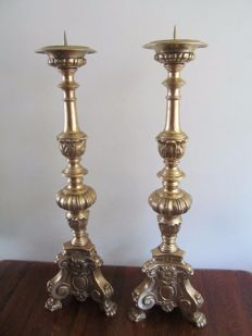 Pair of large bronze baroque church candlesticks Belgium/Flanders - 19th/20th century