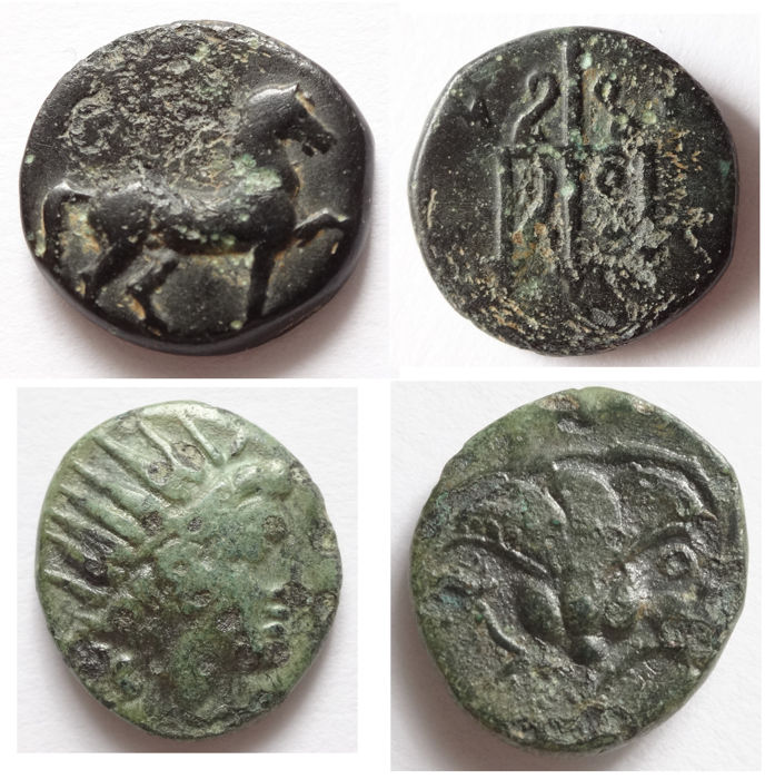 Greek Antiquity ;Lot of2 xAE - coins ; Caria / Mylasa 210 - 30 BC , AE 12 m/m , and, Caria, used for sale