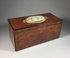 Amboina and satinwood document chest with painted plaque - France, 2nd half of 19th century