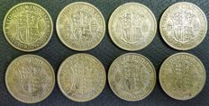 United Kingdom - ½ Crown 1928/1946 George V and VI (8 pieces) - silver