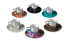 Damien Hirst - Box Set of 6 anamorphic cups and saucers