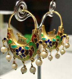 Antique boat-shaped gold and enamel earrings