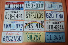 License plates USA - 12 pieces (including Hawaii)