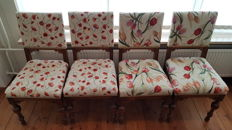 Four dark oak dining chairs with roses/tulips as seating surfaces - Holland, early 20th century