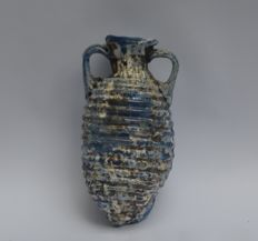 Roman glass bottle, amphora type with horizontal ribs and two ears - 8 cm