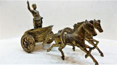 A Roman chariot with Roman and double span, regule partly gold-plated, France, first half 20th century