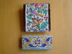 Two Polychrome Glazed Tiles - Persia - late 17th century (Safavid dynasty)
