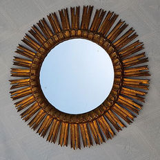 Mirror Sun framed in carved and gilded wood, Spain, 1940s