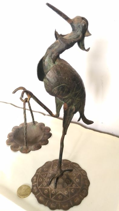Hand-wrought and stork shaped iron candle holder - 19th century - Italy