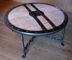 Coffee table, handmade wrought iron, patio table