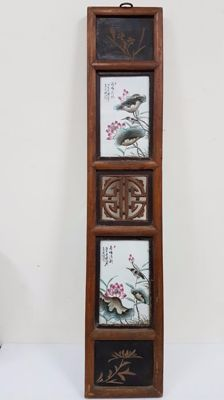 "A famille rose ""Birds and Flowers"" rectangular panel(copy) - China - late 20th century"