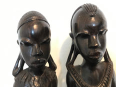 African male and female - wooden sculptures - wood carving - Africa - Ghana - second half of the 20th century