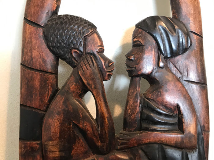 Large african tableau beautiful wood carving africa