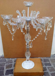 Glass candelabra with crystal pendants - 1960s/70s