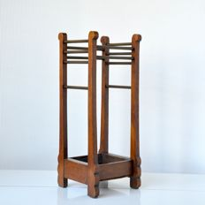 Wooden umbrella stand with brass, Netherlands, circa 1930
