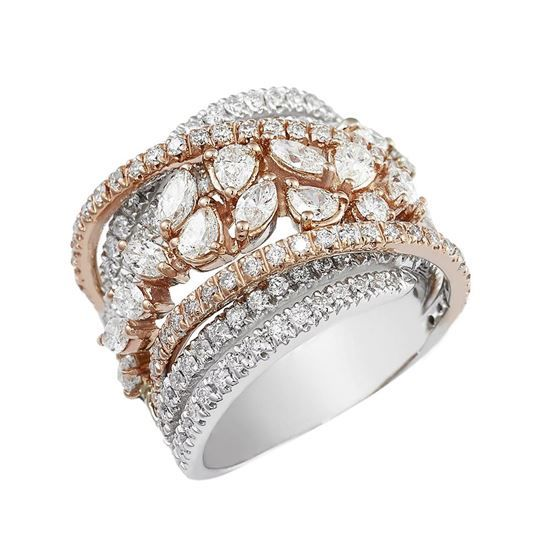 Ring in 18 kt gold with 3.22 ct of diamonds - Can be adjusted from Italian size 8 to 20