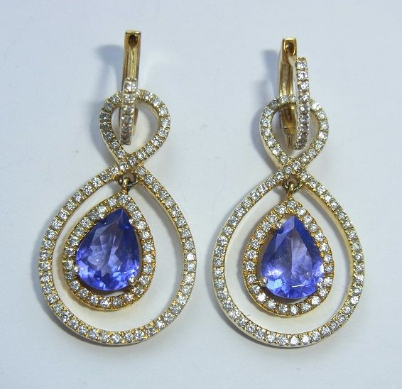 Golden Tanzanite and Diamond 2-in-1 Earrings , total appx. 3,35 ct