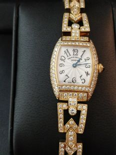 Franck Muller- Cintrée Curvex 2500 QZD 18kt Yellow Gold with 334 Factory- Set Diamonds ( E/VVS1 ) Ladies Watch-2015