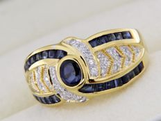 18 kt yellow gold ring - Sapphires - Diamonds - Size: 54 – easily resizable