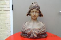 August Carli - Terracotta bust of a girl