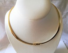 Gold omega necklace, bicolour, by Rancangelo Italy
