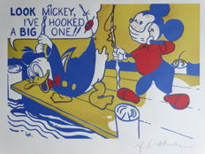 """Roy Lichtenstein - Lithograph - Mickey Mouse - """"Look Mickey!""""  (1981)"""
