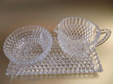 Art Deco geometric/cubic - crystal/glass creamer set