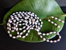 New Handmade Parure - Long Necklace and Earrings - 14 Carats yellow Gold Pearls and Amethyst