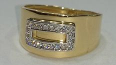 18 kt gold ring with zircon stones – Weight: 2.45 g – Ring size: 54