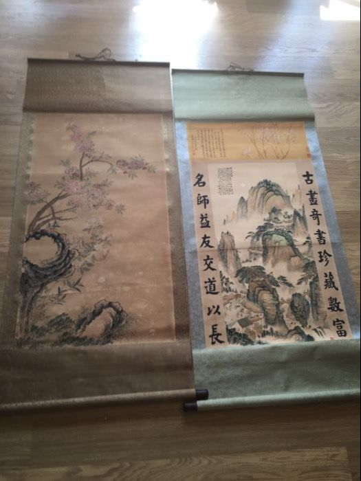 Two print scrolls - China - late 20th century