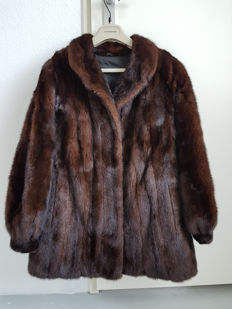 DARK BROWN BLACK MINK FUR COAT